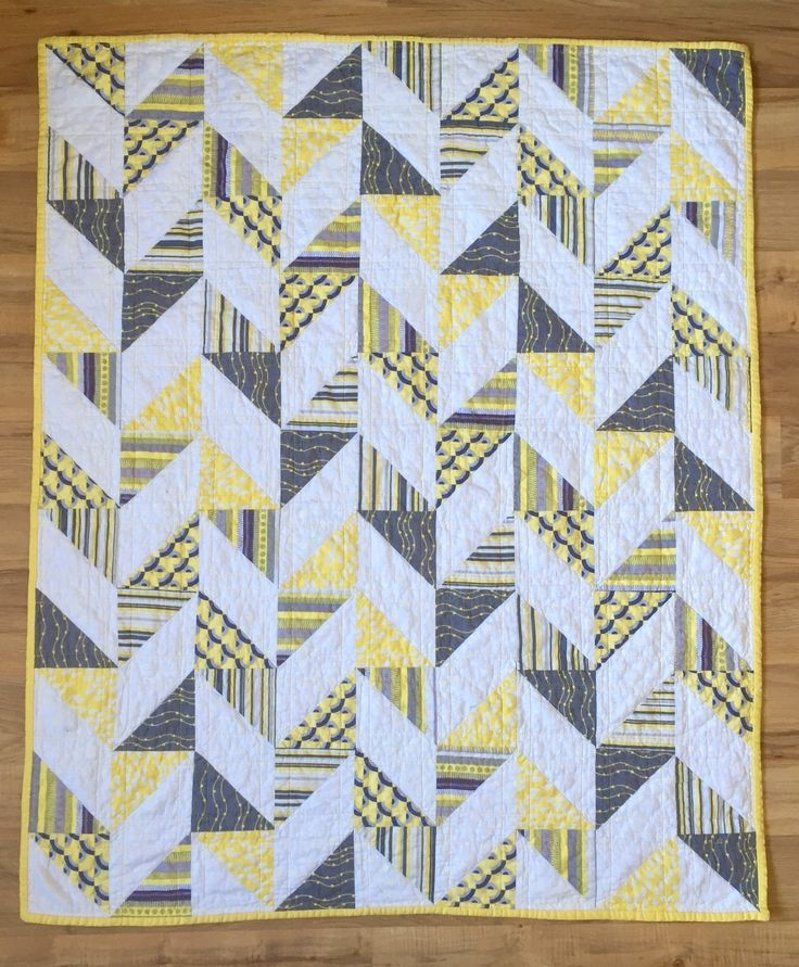 herringbone half square triangle ba quilt quilts and Interesting Triangle Baby Quilt Inspirations
