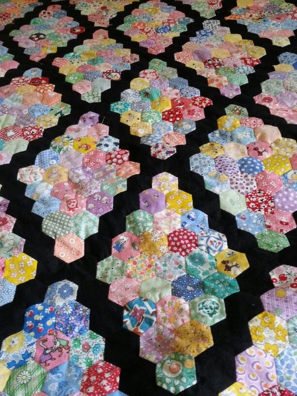 hexagon ufo quilt top martha washington setting i believe Stylish Patchwork Hexagons Patterns Quilt Inspirations