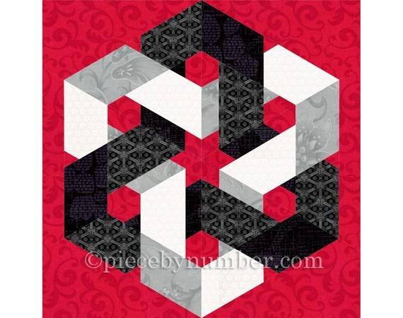 hexagonia quilt block pattern paper pieced quilt pattern instant download celtic knot quilt pattern hexagon quilt pattern geometric Interesting Hexagonia Quilt Designs