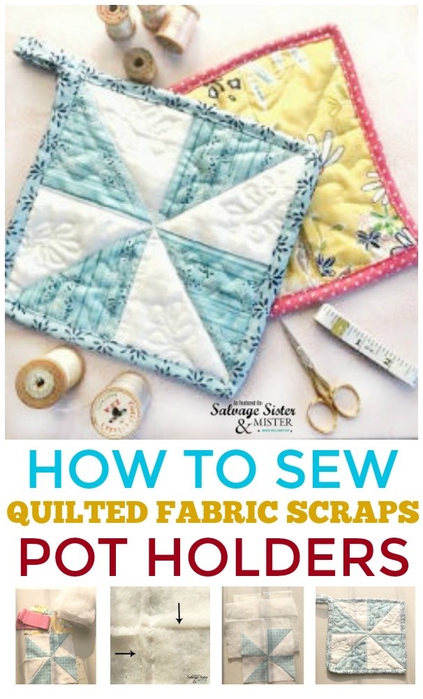 how to sew quilted fabric scraps pot holders salvage Modern Quilted Pot Holder Patterns