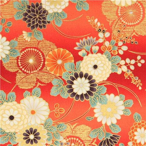japanese flower fabric quilt gate in red and orange Stylish Beautiful Discontinued Quilt Fabric