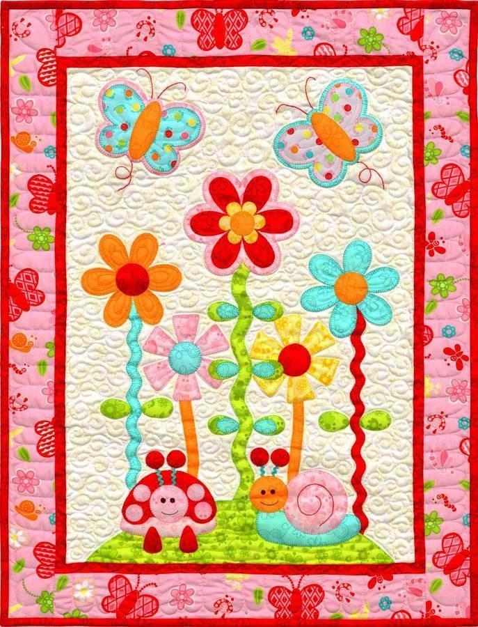 kids quilts in the garden butterfly flower applique quilt Modern Floral Applique Quilt Patterns Gallery