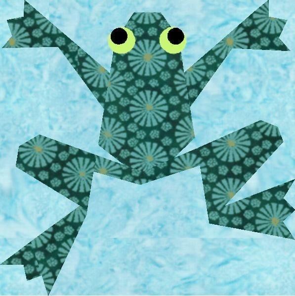 kiriki the frog paper pieced quilt block foundation Modern Frog Quilt Block Pattern Gallery