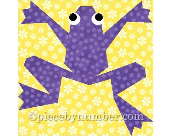 kiriki the frog quilt block paper pieced quilt patterns instant download animal patterns frog quilt patterns animal quilt patterns pdf Modern Frog Quilt Block Pattern Gallery