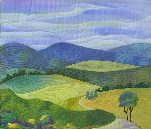 landscape quilt oh i love how simple and calming this one is Cool Landscape Quilting Patterns Gallery