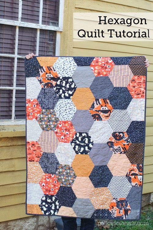 large hexagon quilt pattern and tutorial the polka dot Unique Hexagon Patchwork Quilt Patterns Gallery