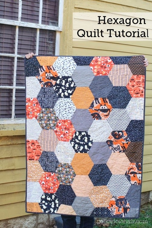 large hexagon quilt pattern and tutorial the polka dot Unique Hexagon Quilting Patterns