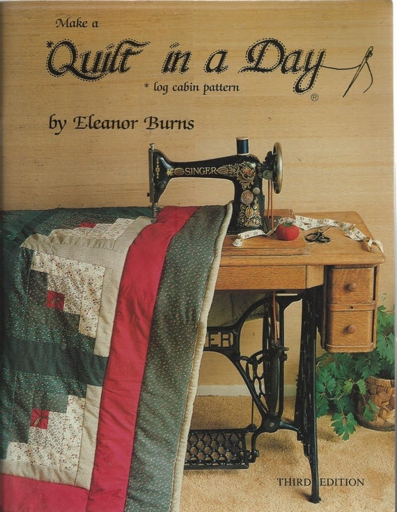 log cabin quilt pattern book eleanor burns quilt in a day series 1986 quilting pattern tote bag pillow shams pillow 1985 Make A Quilt In A Day Log Cabin Pattern Inspirations