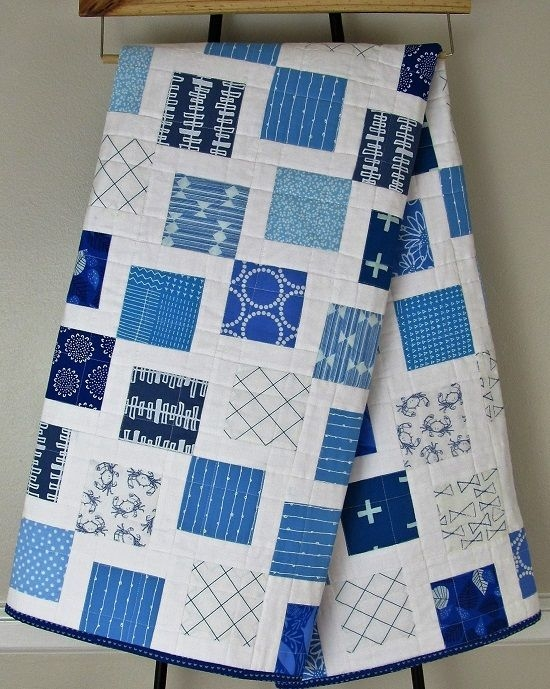 lotties squares in blue and white a finished quilt quilt Unique Blue And White Quilt Patterns Gallery