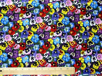 love pansies 100 cotton quilting fabric black lovely pansy flower the yard Elegant Lovely Quilting Fabric By The Bolt Inspirations
