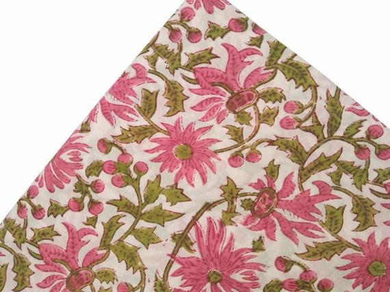 lovely green pink floral block print fabric hand block printed floral fabric the yard home decor quilting cotton sewing fabric Elegant Lovely Quilting Fabric By The Bolt Inspirations