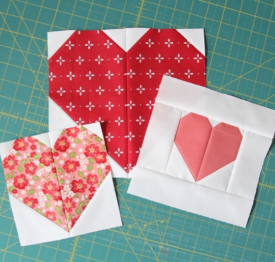 making heart blocks in multiple sizes cluck cluck sew Cozy Heart Quilt Block Pattern