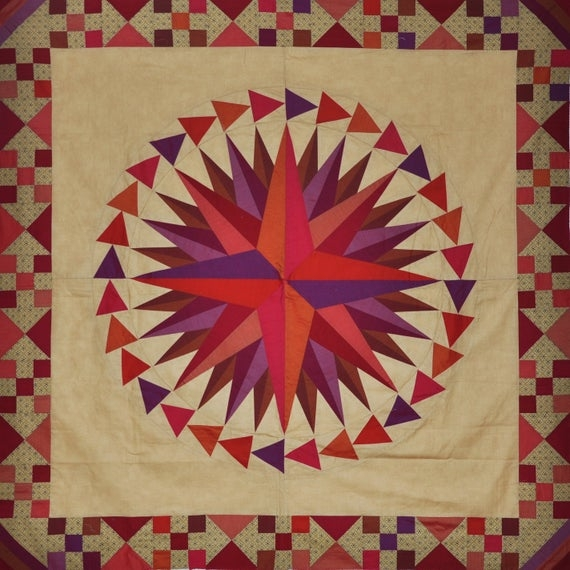 mariners compass quilt pattern lessa siegele multi version pattern 3 sizes 3 outer ring options foundation pieced good instructions Modern Mariners Compass Quilts