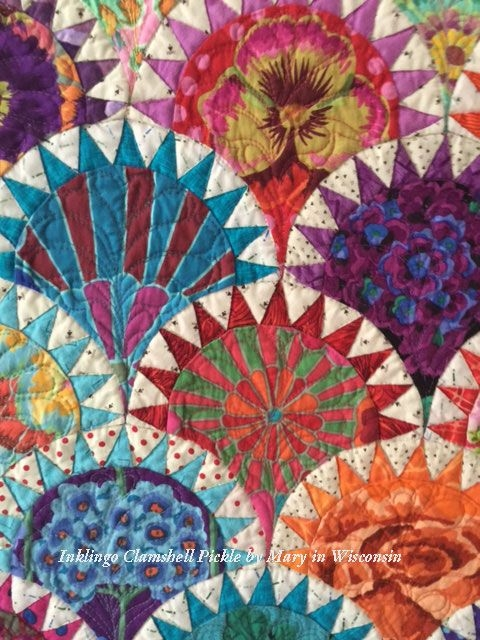 mary used her stash of kaffe fassett fabrics for her Cool Pickled Clamshell Quilt Pattern Inspirations