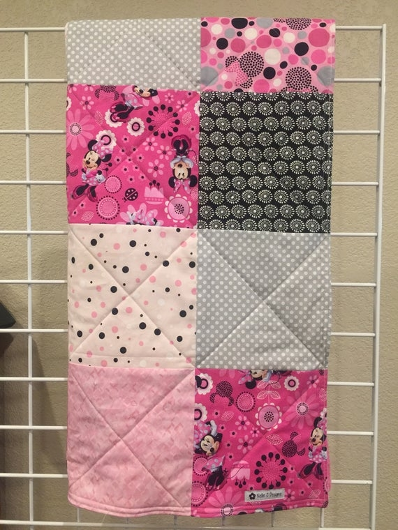 minnie mouse ba crib quilt ba blanket pink disney pink cuddle pinky quilted lovie with ribbon Elegant Minnie Mouse Baby Quilt
