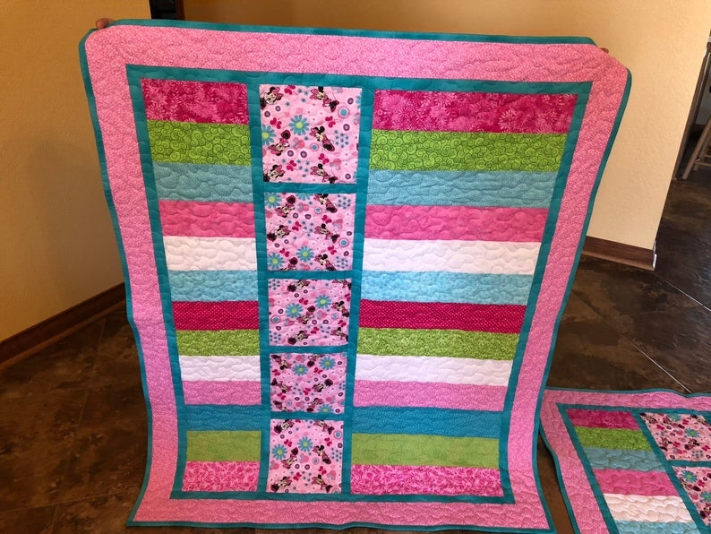 minnie mouse ba quilts 2 available Elegant Minnie Mouse Baby Quilt