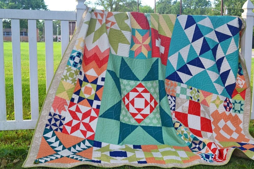 moda modern building blocks quilt finished grey dogwood Modern Building Blocks Quilt Pattern
