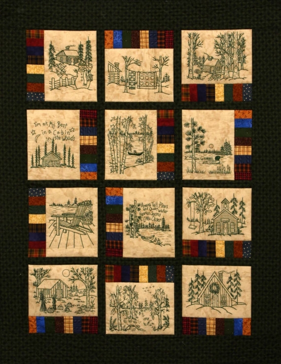 northwoods memories quilt pattern 12 redwork hand Elegant Embroidered Quilts Patterns Inspirations