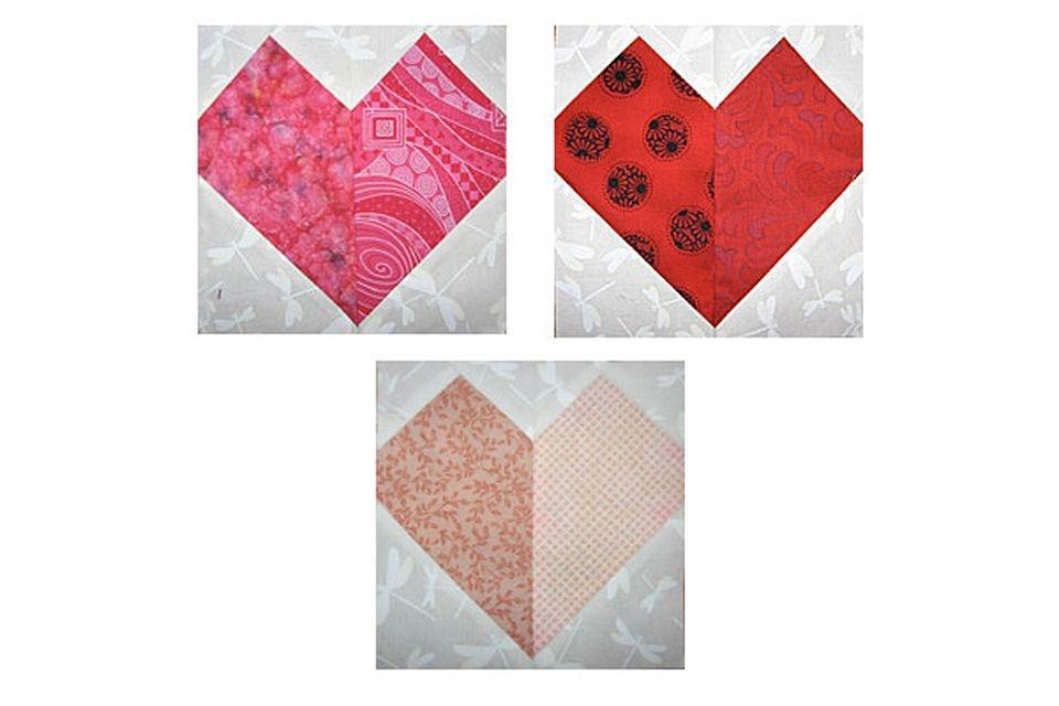 patchwork hearts quilt block pattern Cozy Heart Quilt Block Pattern