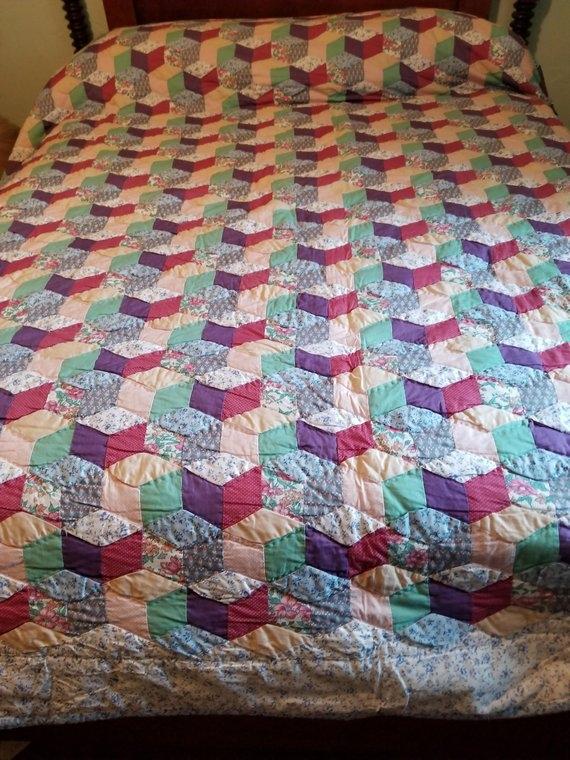 patchwork quilt handmade vintage quilt 99 x 89 inch queen Interesting Handmade Patchwork Quilt Vintage Gallery