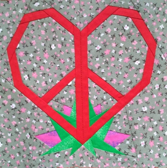 peace sign heart quilt block pdf pattern Peace Sign Quilt Pattern Inspirations