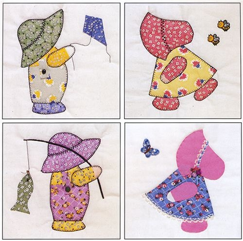 pin on applique Stylish Sue Bonnet Quilt Pattern Gallery