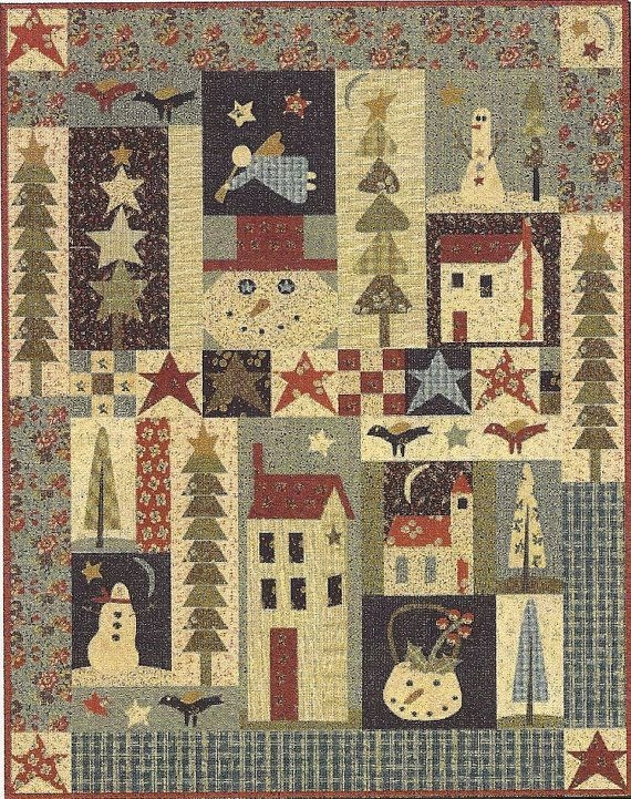 pine tree quilt patterns primitive folk art bom quilt Cool Primitive Quilting Patterns Inspirations