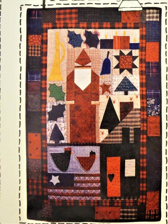 plum pudding christmas santa quilt pattern country threads 420 rotary cutting and templates holiday wall quilt pattern vintage oop Modern Country Threads Quilt Patterns Inspirations