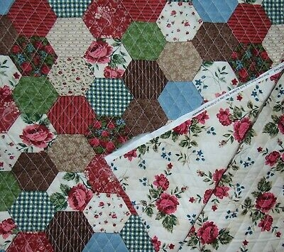 pre quilted double sided calico roses fabric bty purses quilting squares 6 avail Modern Lovely Pre Quilted Double Sided Fabric Gallery