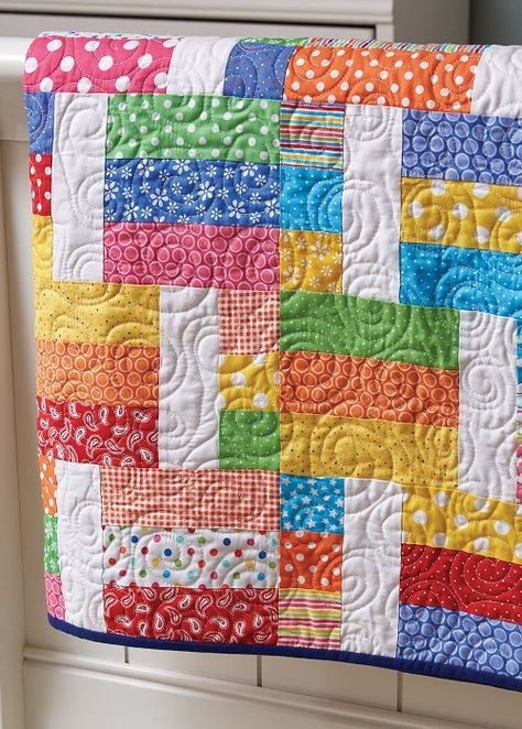 pull out your brightest fabrics for this easy quilt jelly Easy Quilt Pattern Ideas Inspirations