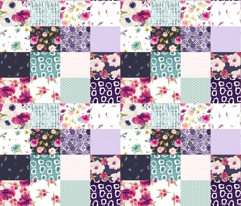 purple floral with minty polka dots whole cloth cheater Modern Quilting Fabric Whole