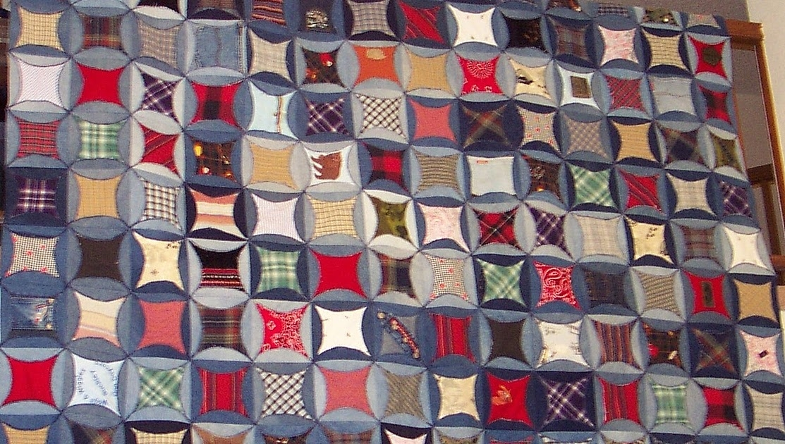 quilt inspiration faux cathedral windows from denim jeans Mock Cathedral Window Quilt Pattern Inspirations