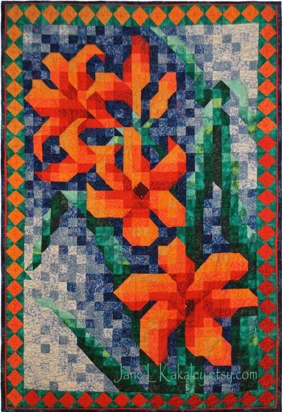 quilt pattern lily mosaic quilt pattern immediate download pdf Interesting Mosaic Quilt Patterns Gallery