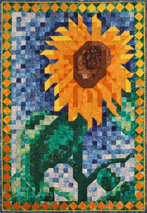 quilt pattern sunflower mosaic art quilt pattern Interesting Mosaic Quilt Patterns Gallery