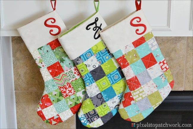quilted christmas stockings from pixels to patchwork Modern Quilted Stocking Patterns Gallery