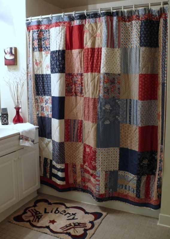 quilted shower curtain maybe in softer colors girls Stylish Quilted Curtain Patterns