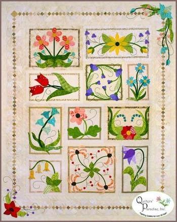 quilters paradise flower box medley applique quilt pattern Applique Flower Quilt Patterns