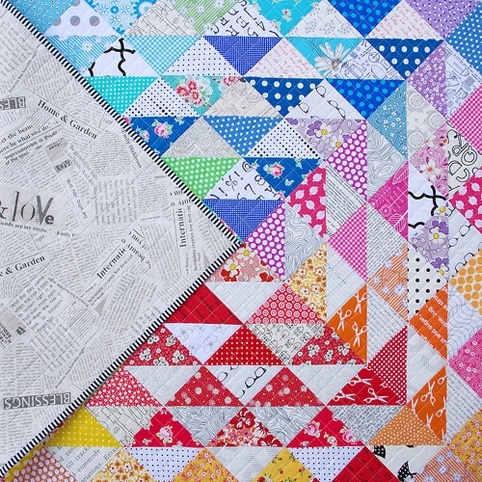 red pepper quilts a rainbow half square triangle quilt Cozy Half Square Triangle Quilt Patterns