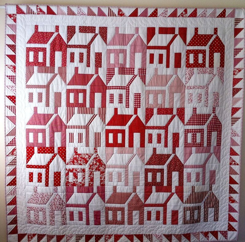 red white house quilt the shadings color inversion make Interesting Schoolhouse Quilt Pattern Inspirations