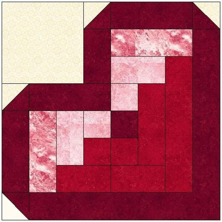replicate this quilt from your stash quilting digest Unique Log Cabin Heart Quilt Pattern