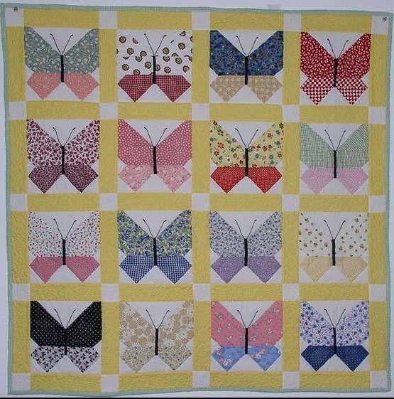 retro butterfly quilt quilts butterflies butterfly quilt Stylish Vintage Butterfly Quilt Block Patterns