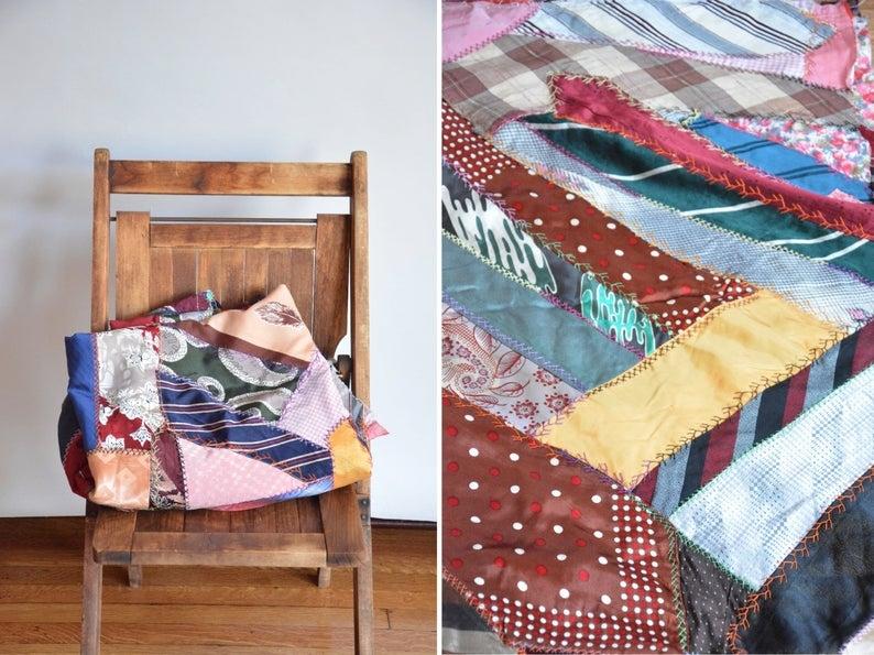 sale antique patchwork craze quilt vintage patchwork crazy quilt old patchwork blanket topper Stylish Vintage Patchwork Quilts For Sale