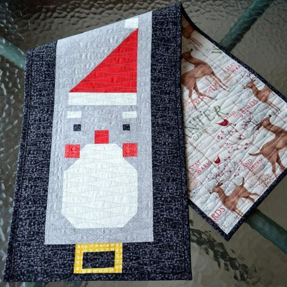 santa claus table runner quilt pattern pdf instant download modern patchwork christmas holiday festive cute seasonal winter Santa Claus Quilt Patterns