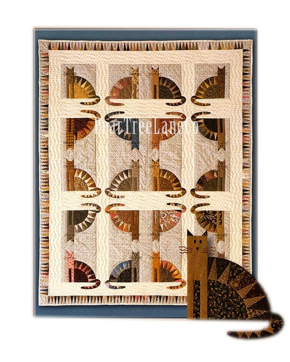 sawtooth cats quilt pattern paper piecing quilt pattern uses fabric scraps fat quarter friendly cat quilt pattern foundation piecing Cozy Cat Quilt Patterns Inspirations