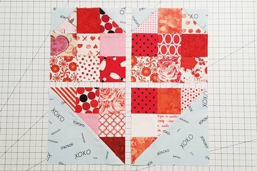 scrappy heart quilt block pattern a beginners delight 4 Inch Quilt Block Patterns Inspirations
