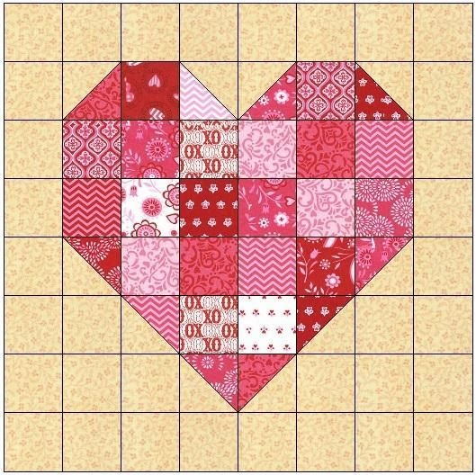 scrappy heart quilt block pattern our quilt patterns on Cozy Heart Quilt Block Pattern