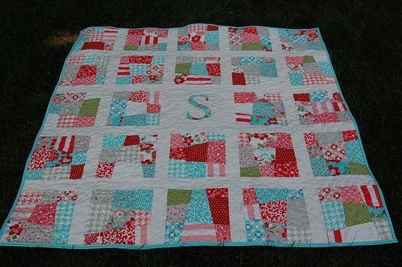 scrappy initial patchwork quilt pattern pdf ba quilt lap quilt fat quarters personalized quilt pdf Interesting Baby Patchwork Quilt Pattern Gallery