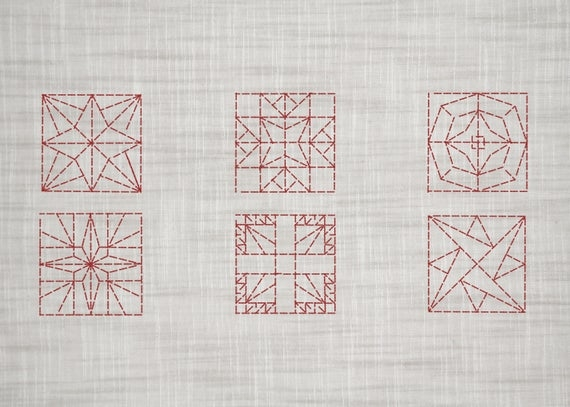 set of 6 hand embroidery patterns quilt block embroidery patterns modern embroidery hand embroidery pdf pdf pattern redwork Cool Hand Embroidery Patterns For Quilts Gallery