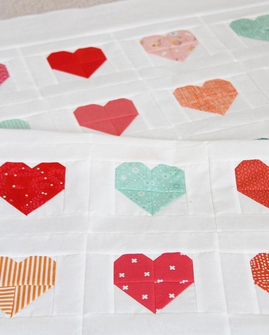 simple heart quilt cluck cluck sew Cozy Heart Quilt Block Pattern