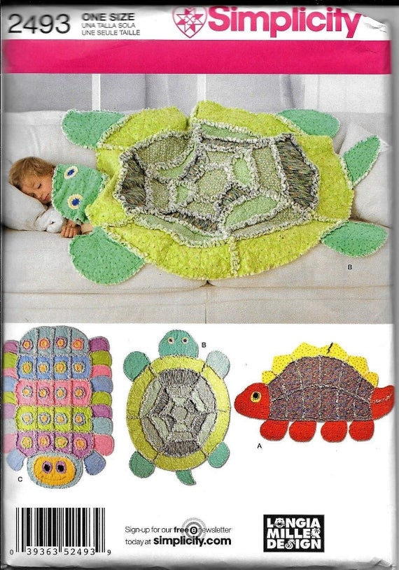 simplicity 2493 rag quilt rug blanket sewing pattern turtle caterpillar dinosaur throw Interesting Turtle Rag Quilt Pattern